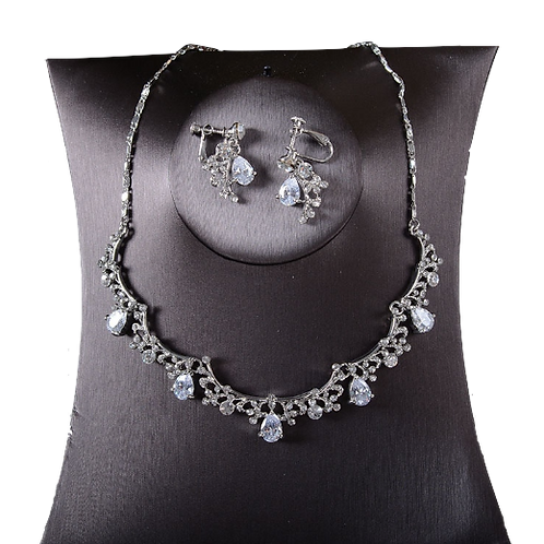 Silver Pear Drop Garland Clip Earring Necklace Set