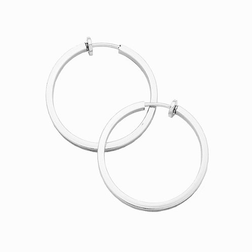 3cm Silver Squared Tube Clip On Hoops