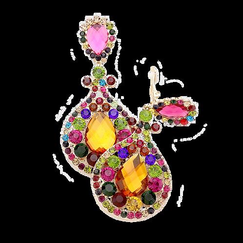 Flamboyant Dark Crystal Large Clip Earrings