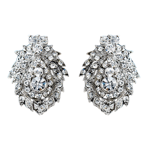 Vintage styled cluster clip on earrings