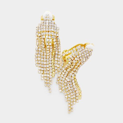 Simple Rhinestone Fringe Clip Earrings, Gold