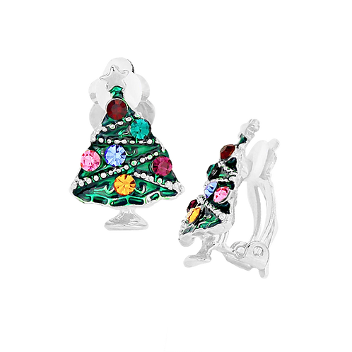 Colourful Silver Christmas Tree Clip Earrings