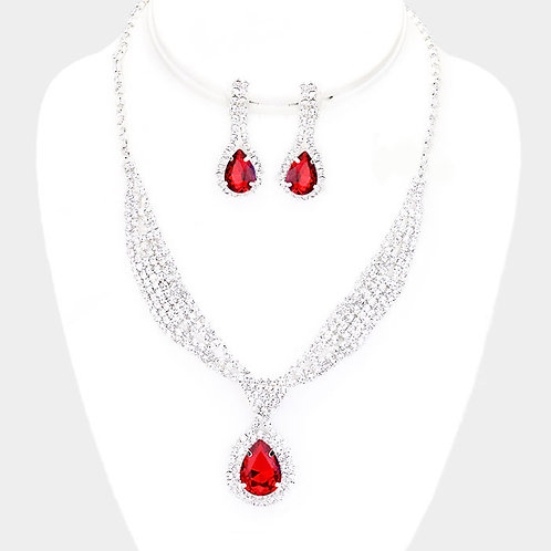Rhinestone Sash Collar Clip Earring Necklace Set, Red