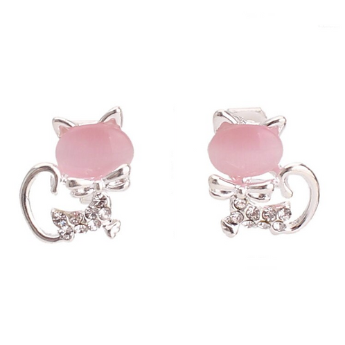 Pink Gem Cat Clip Earrings