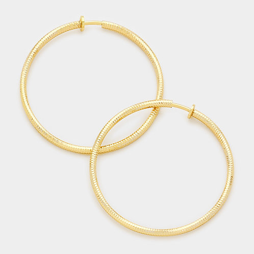 8cm Gold Tone Textured Clip-On Hoops