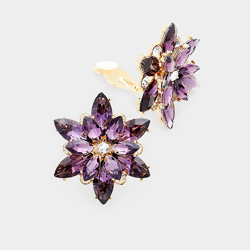 Deep Amethyst Flower Clip-on Earrings