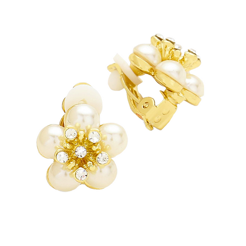 Ivory Pearl and Crystal Flower Clip Earrings