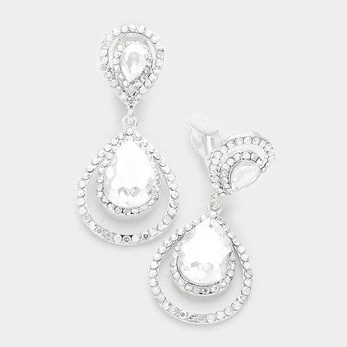 Double framed pear drop clip earrings, silver