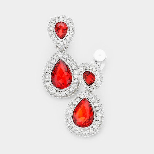 Dainty Pear Drop Clip Earrings, Red