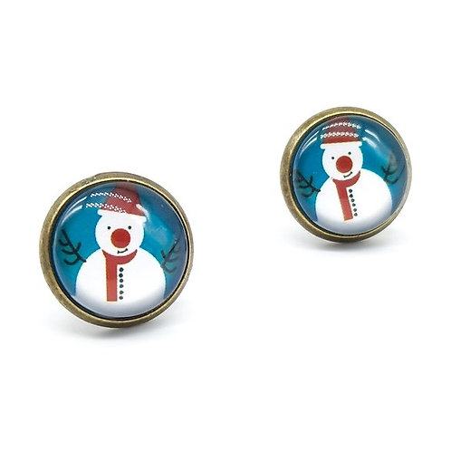 Happy Snowman Christmas Clip On Button Earrings