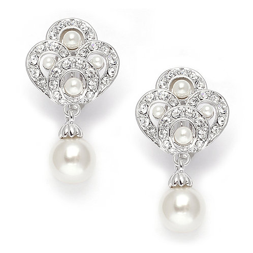 Art Deco styled clip-on or pierced bridal earrings