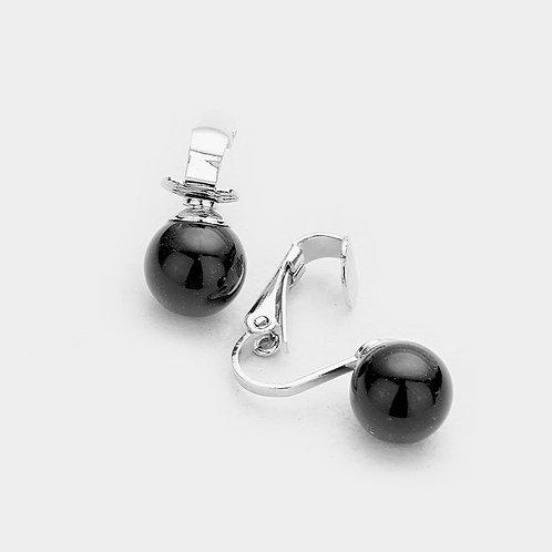10mm Black faux pearl clip-on earrings
