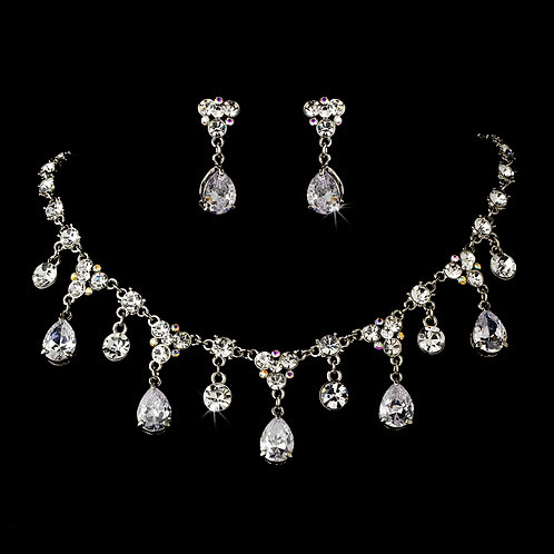 Multi Crystal Pear Necklace Set