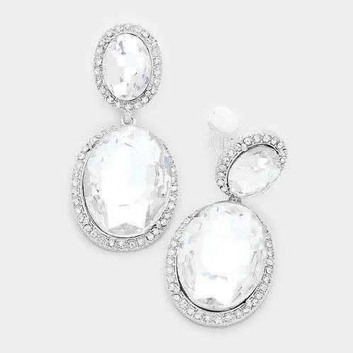 Double Oval Clear Glass Clip-On Earrings