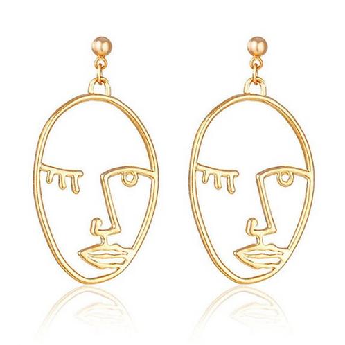 Open Face Clip On Drop Earrings, Gold