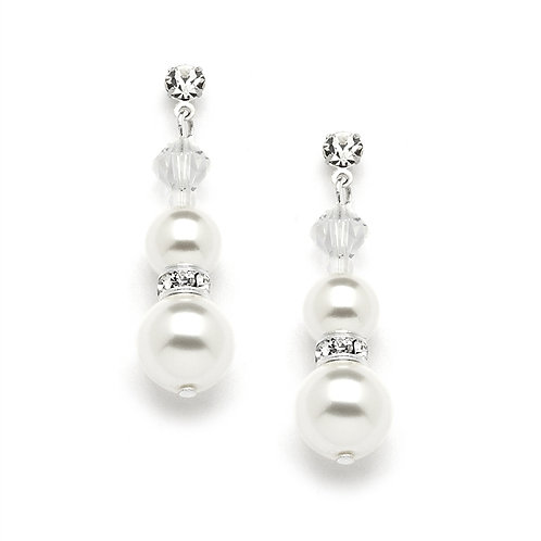 White ivory double pearl bridal earrings