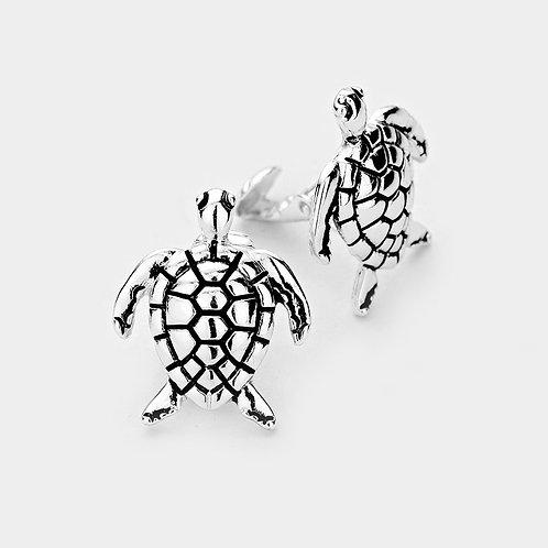 Cute Silver Turtle Clip On Earrings