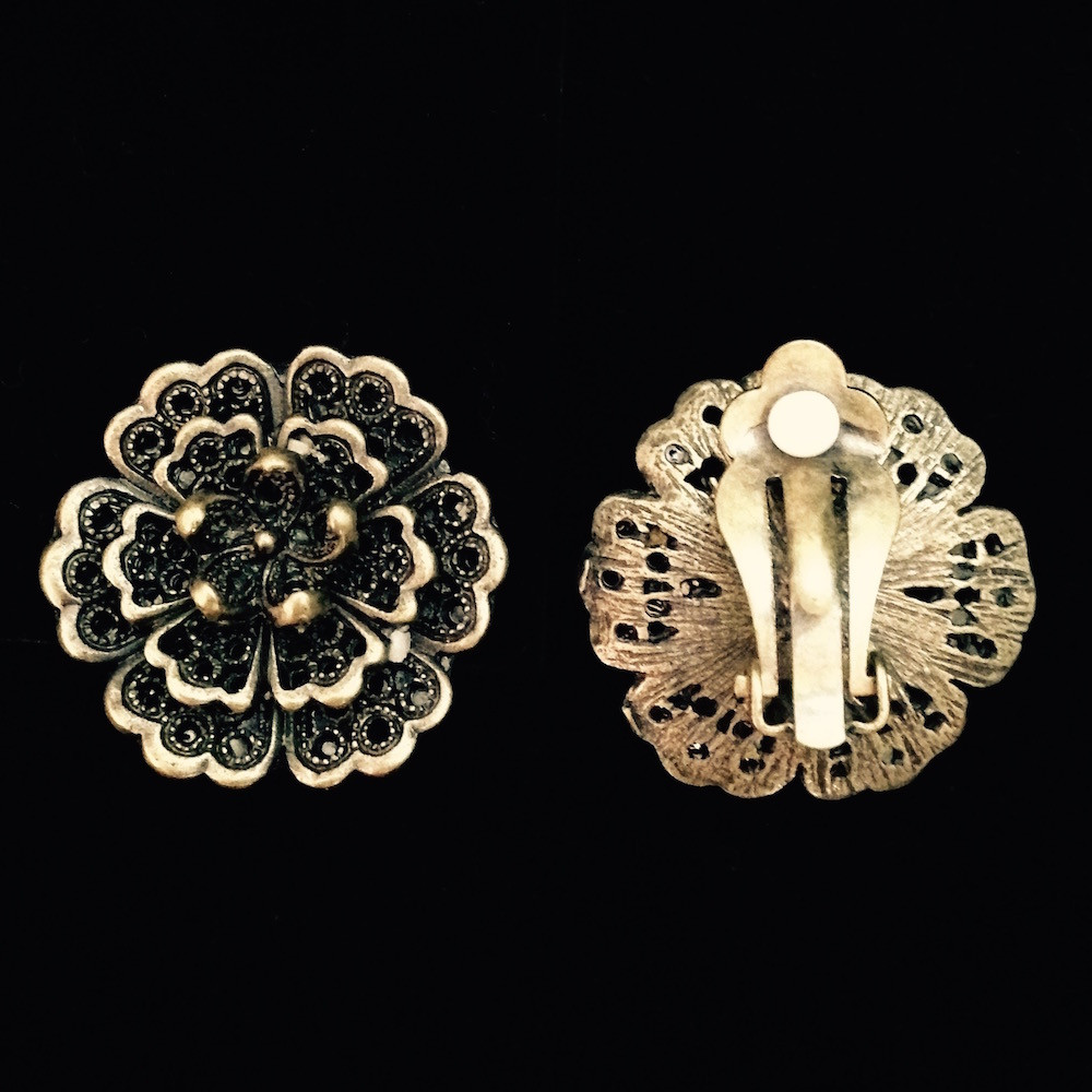 Antiqued Paddle Back Clip-On Earrings