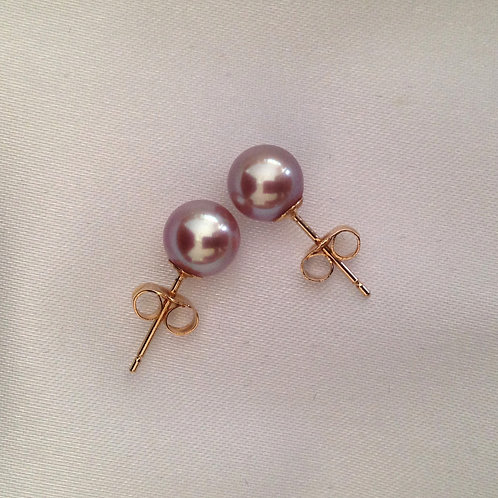 Soft Lavender Round Pearl Studs
