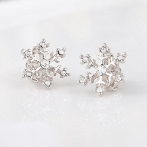 Silver Snowflake Clip Earrings
