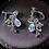Silver Pear Drop Garland Clip Earrings