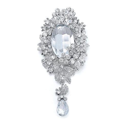 Dramatic Victorian Crystal Bridal Brooch