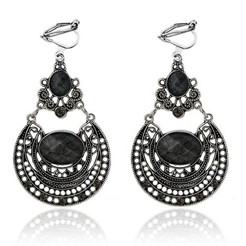 Boho Ethnic Black Hematite Filigree Earrings