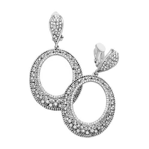 Silver Rhinestone Filigree Oval Hoop Earrings