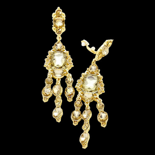 Long gold smokey topaz chandelier clip earrings long topaz chandelier clip on earrings aloadofball Image collections