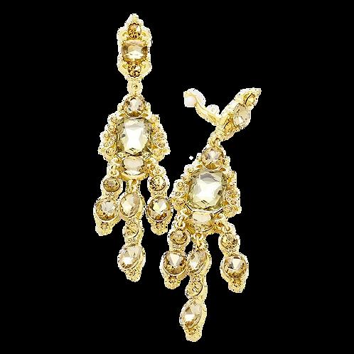 Long topaz chandelier clip-on earrings