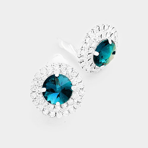 Teal Rhinestone Button Clip On Earrings