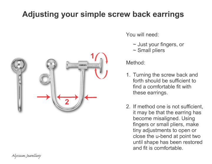 Adjusting a simple screw on earring