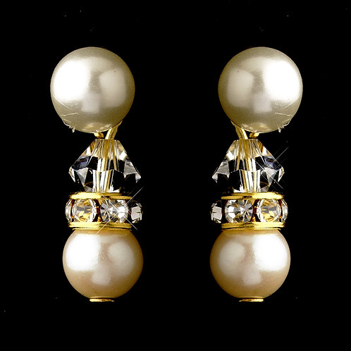 Ivory and gold pearl clip-on earrings for non-pierced ears
