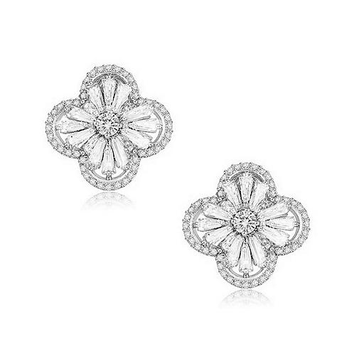Gatsby Glam Earrings, Silver Clip