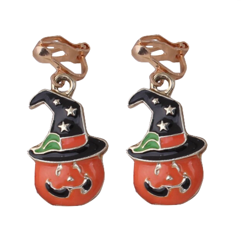 Jack-o-Lantern Halloween Pumpkin Clip Earrings