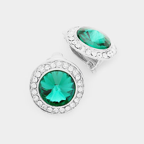 Pave Framed Emerald Green Button Clip On Earrings