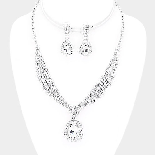 Rhinestone Sash Collar Clip Earring Necklace Set, Silver