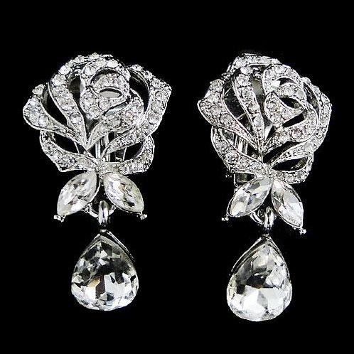 Clip on rose earrings