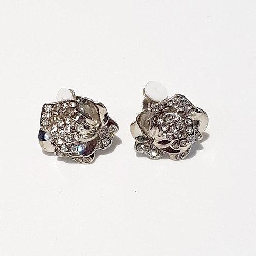 Silver Rhinestone Rose Clip Earrings