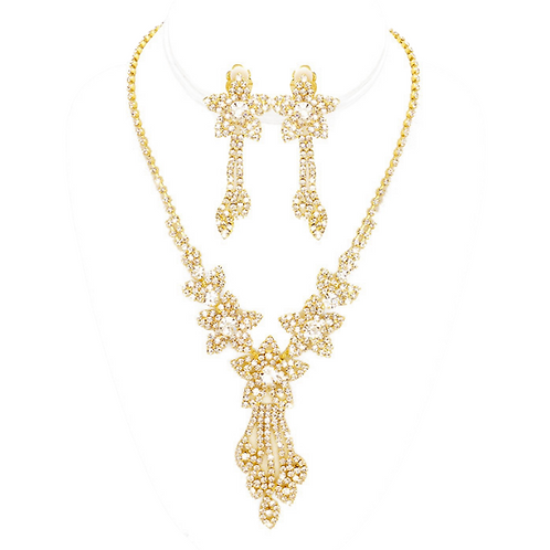Stellar necklace set with clip earrings, gold