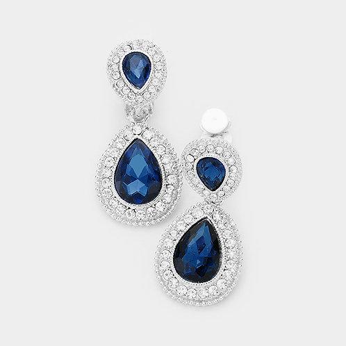 Dainty Pear Drop Clip Earrings, Deep Blue