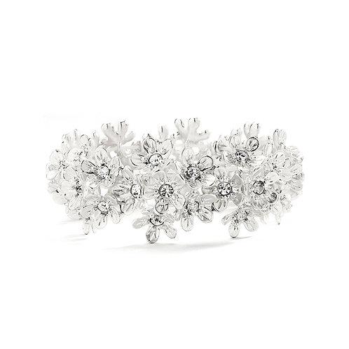 Bracelet of matt silver flowers