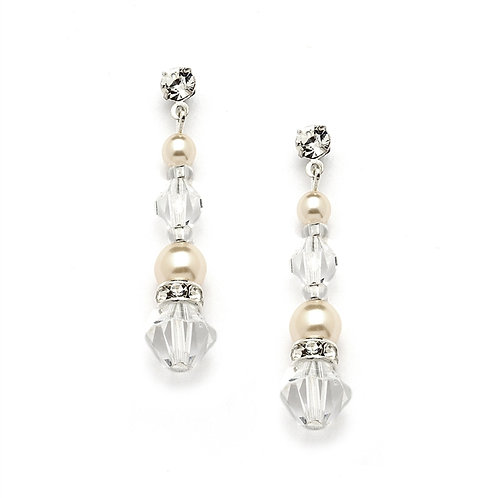 Ivory pearl and clear crystal dangle earrings