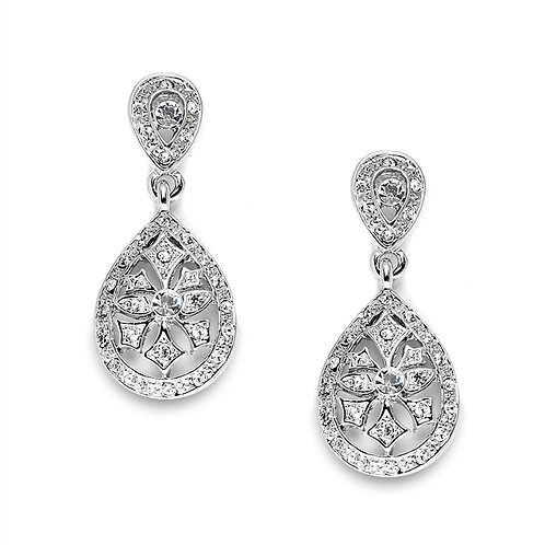Etched cubic zirconia bridal earrings