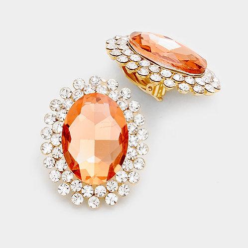 Oversized Button Clip On Earrings, Peach