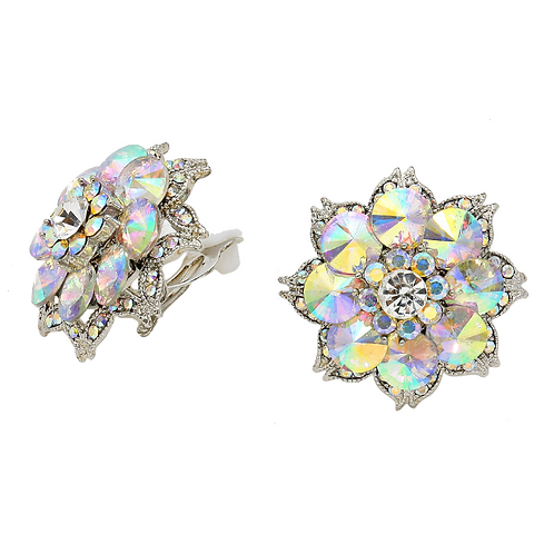 Floral crystal button earrings for non-pierced ears