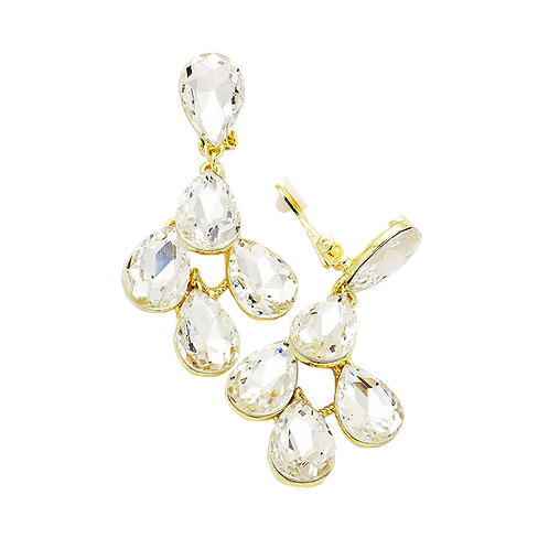 Big clear crystal clip-on evening earrings, gold