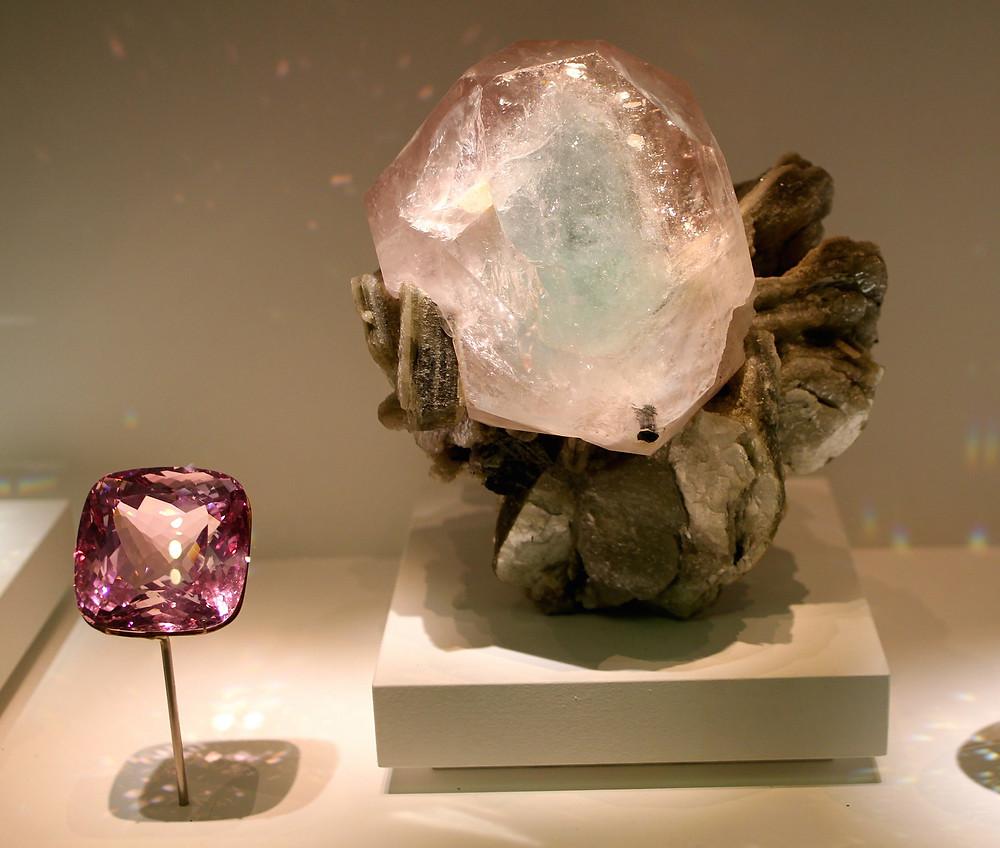 Large Morganite Crystal on Display