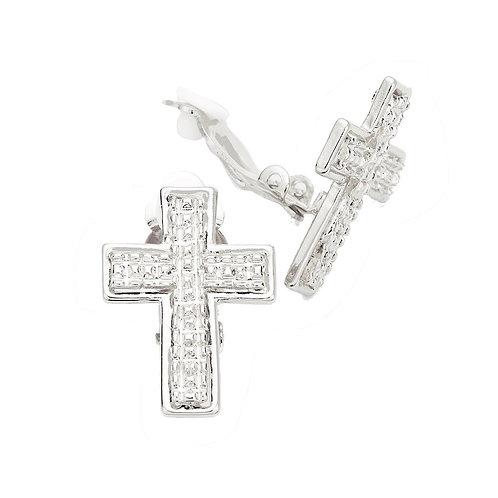 Silver Metal Cross Clip-On Earrings