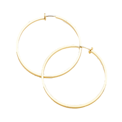 6cm squared tube clip-on hoops gold
